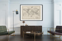 Antique World Map Chart of the World Poster in Home Office