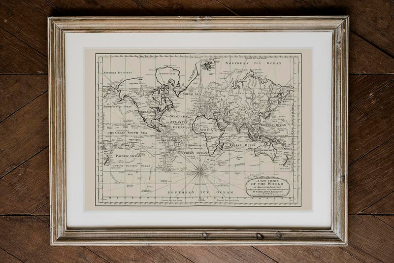 Antique World Map Chart of the World Poster in Wooden Frame