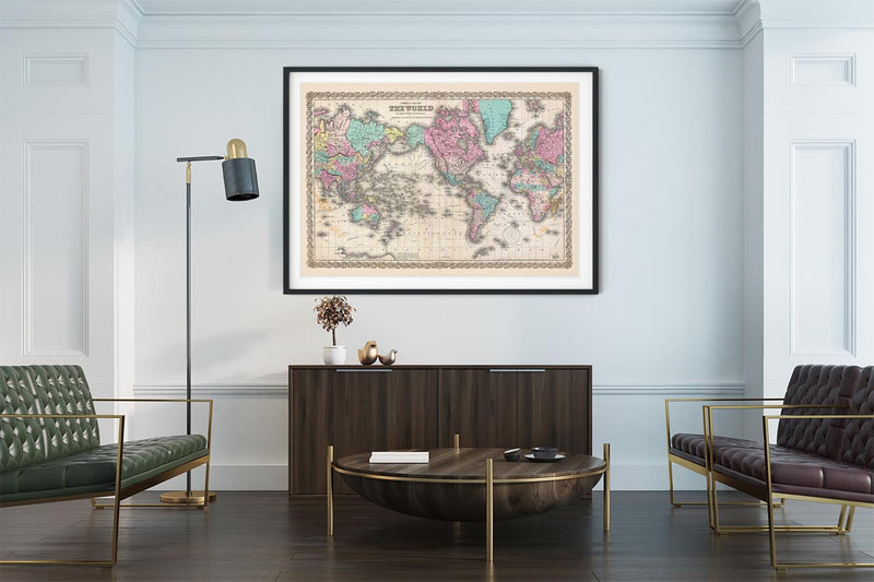 Colton's Map of the World Poster on Mercators Projection as office decor