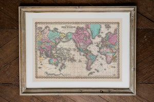 Colton's Map of the World Poster on Mercators Projection in wooden frame