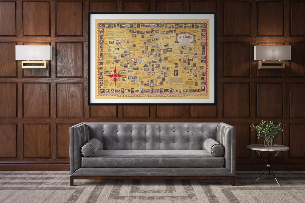 A World of Stamps Vintage Map of the World Poster in office setting with sofa