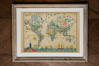 Adventures Map of Captain Ezra Map of World Poster in Wood Frame