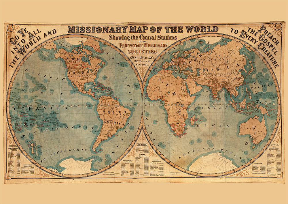 Missionary Map Poster - Perfect for Living Room and Office ! - Kuriosis Vintage Prints