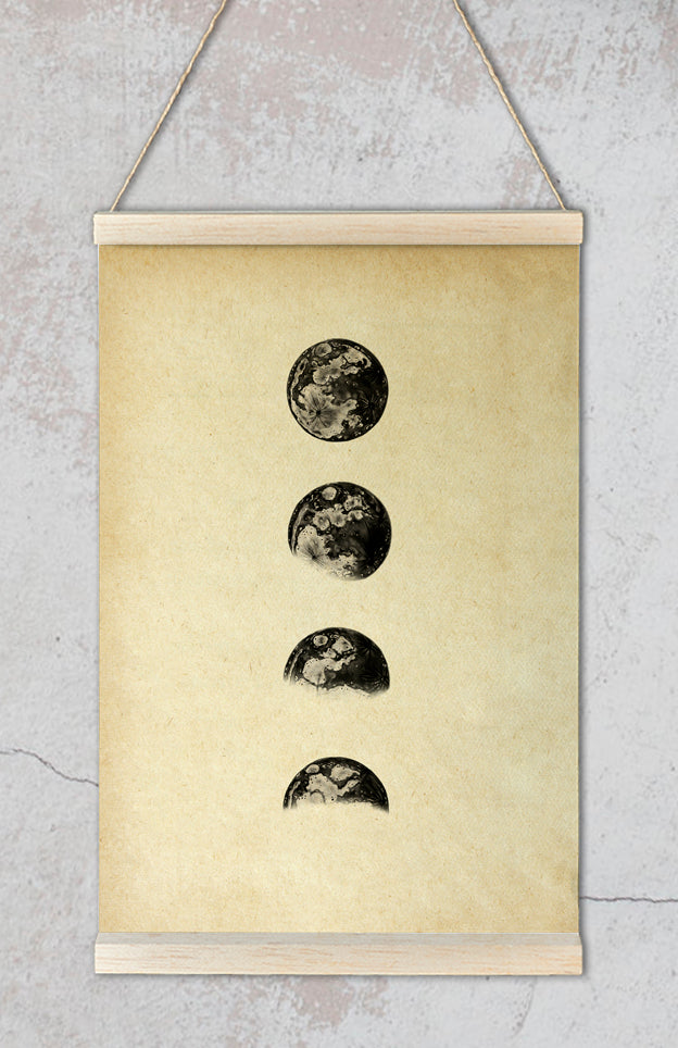 Póster Astronómico Moon Phases Sepia
