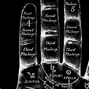 Vintage Mystic Hand in Black - Antique Palmistry Poster for your wall! - Kuriosis Vintage Prints