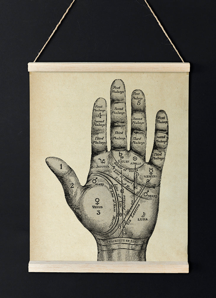 Vintage Mystical Hand - Lovely poster of a Palmistry Chart - perfect for your room decor - Kuriosis Vintage Prints