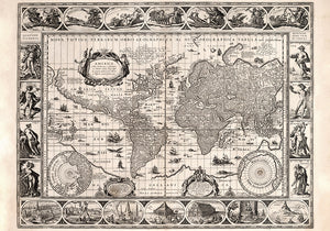 Nova Totius Orbis Geografica Hydrographica Poster - Perfect for Living Room and Office ! - Kuriosis Vintage Prints