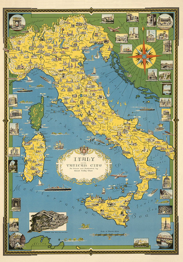Italy Map with Vatican Poster - Perfect for Living Room ! - Kuriosis Vintage Prints