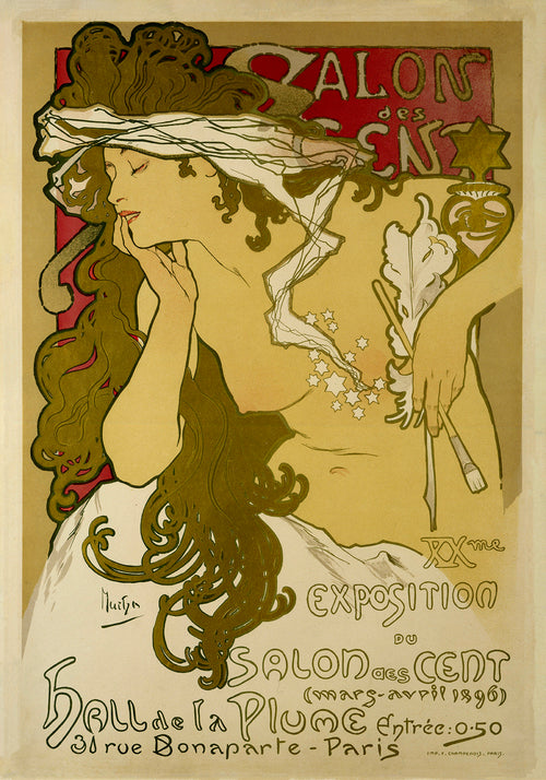 Salon Art Nouveau Vintage Poster by Mucha