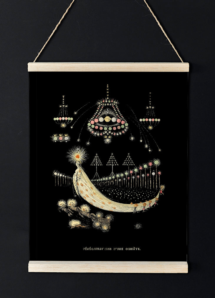 "Antique mystical french poster ""Peregrinations of a comet"" - lovely decor idea for any room!"