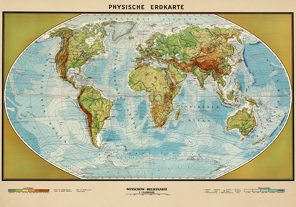 Physische Erdkarte Poster - Perfect for Living Room and Office ! - Kuriosis Vintage Prints