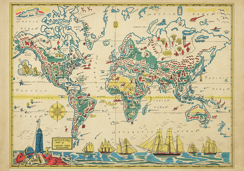 Adventures Map of Captain Ezra Map of World Poster