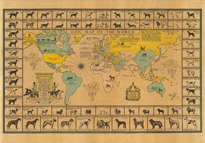 Dogs of the World Map Poster - Perfect for Living Room and Office ! - Kuriosis Vintage Prints