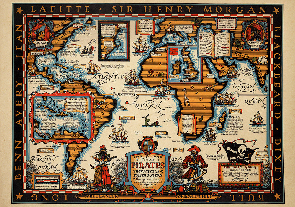 Pirates Map Poster - Perfect for Living Room and Office ! - Kuriosis Vintage Prints