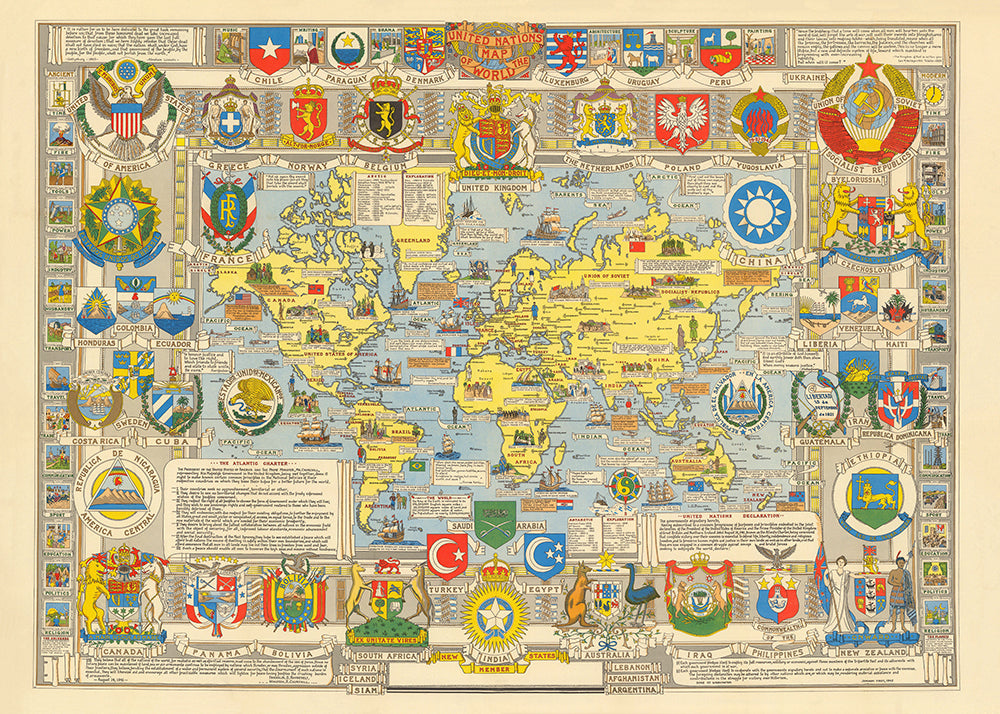 United Nations Map of the World 1948 Poster - Perfect for Living Room and Office ! - Kuriosis Vintage Prints