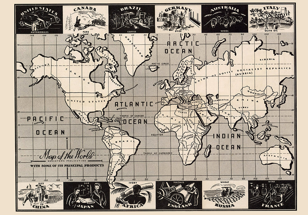 World Map with principal products Poster - Perfect for Living Room and Office ! - Kuriosis Vintage Prints