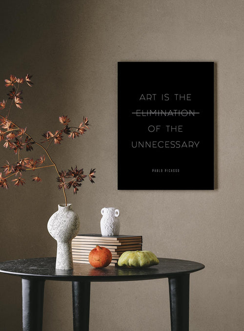 """Art is the Elimination of the Unnecessary."" - Pablo Picasso Black Quote Poster"