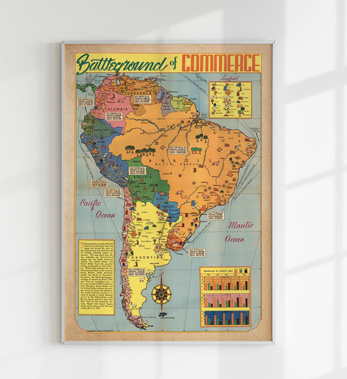Battleground of Commerce South America Map Poster