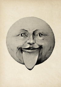 Antique Cheeky Moon Poster by KURIOSIS