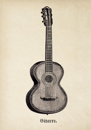 Antique Guitar Poster by KURIOSIS