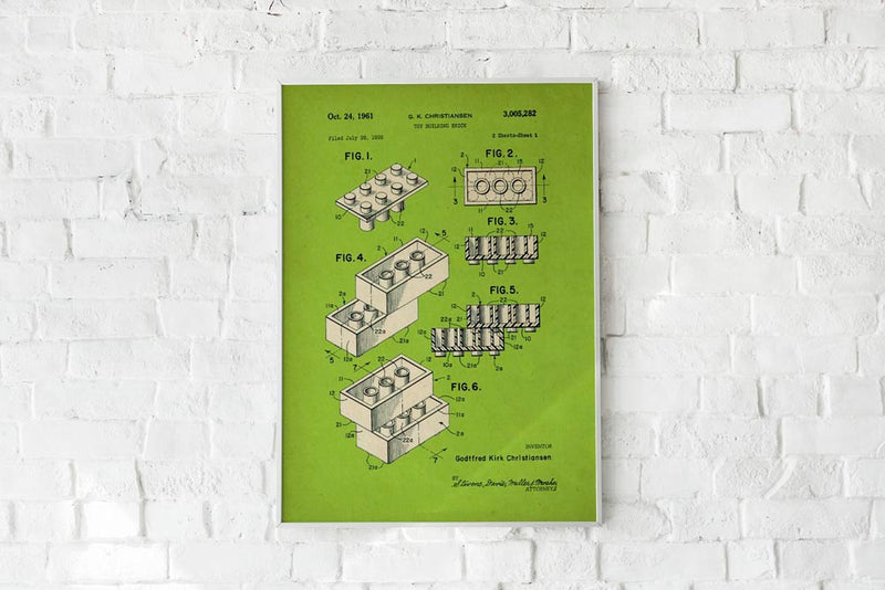 Antique Lego Green Poster by KURIOSIS