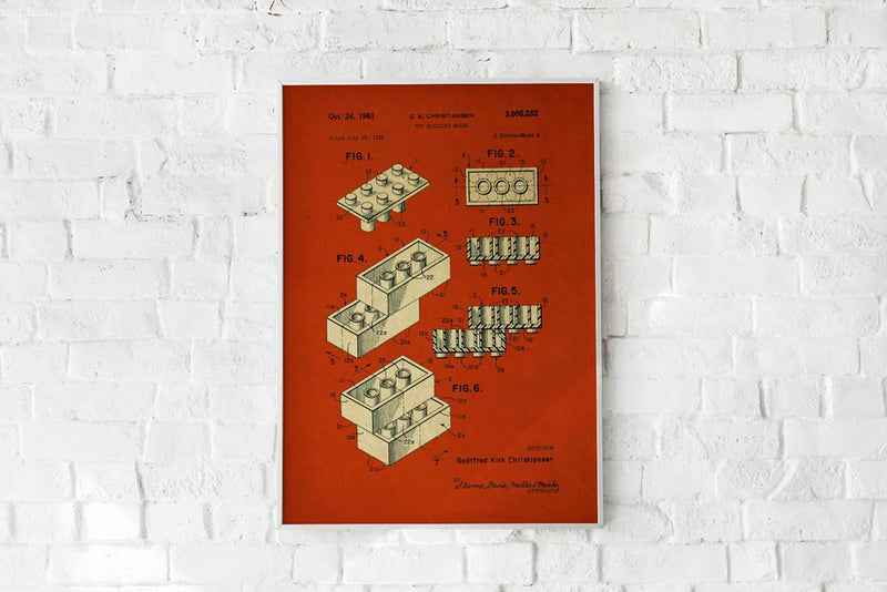 Antique Lego Red Poster by KURIOSIS