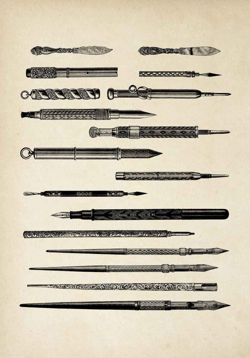 Antique Pens and Pencils Poster by KURIOSIS