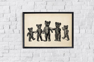 Antique Teddy Bears Poster by KURIOSIS