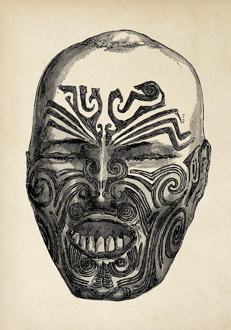 Antique Maori Face Poster by KURIOSIS