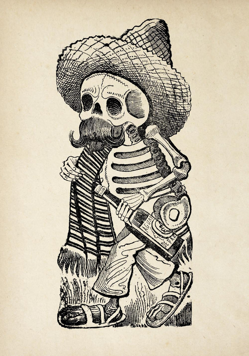 Antique Skeleton with Tequila Poster by KURIOSIS