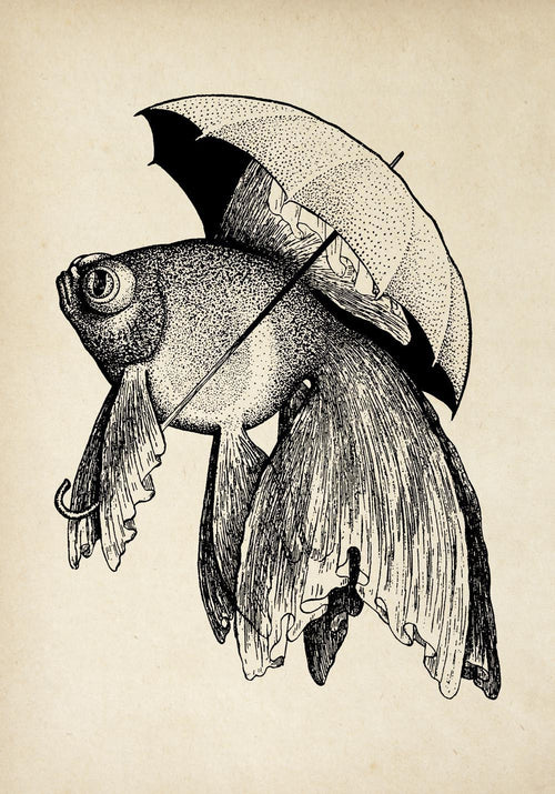 Antique Fish with Umbrella Poster by KURIOSIS