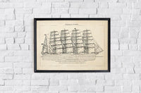 Antique Sailing Ship Poster by KURIOSIS