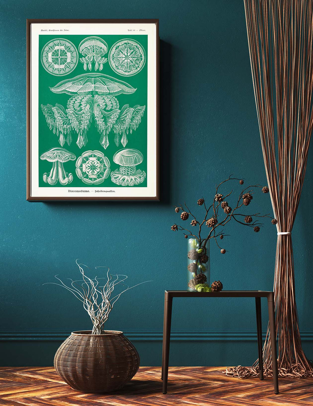 Discomedusae Green Jellyfish by Ernst Haeckel Poster with borders