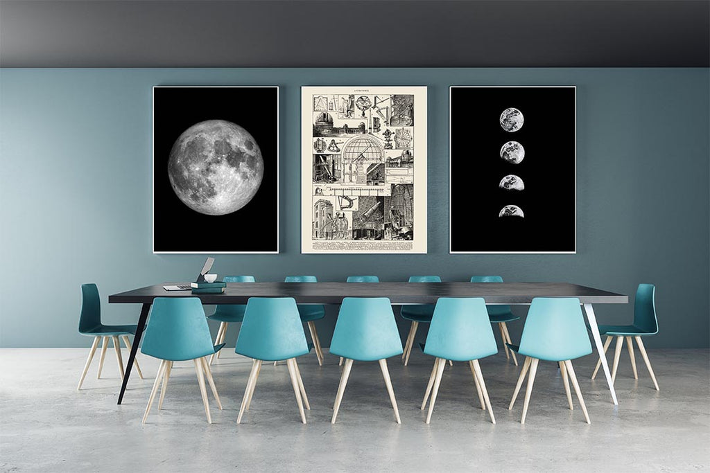 Vintage Astronomy Illustrations of Moon Set of 3 Prints