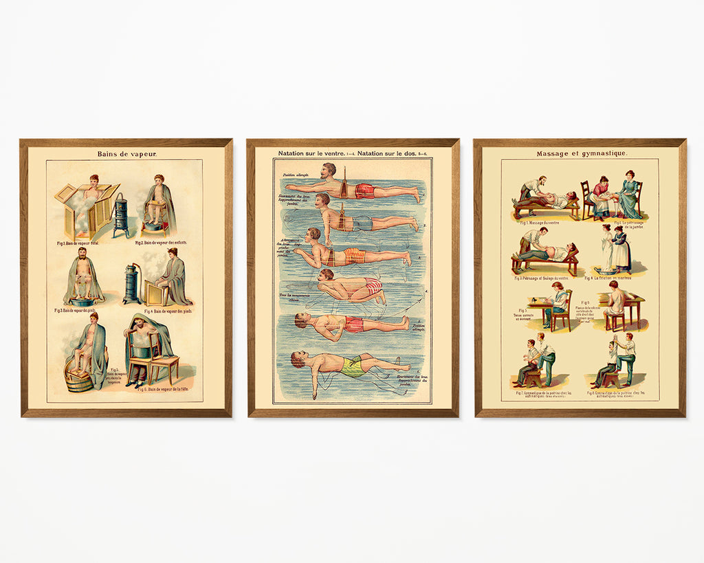 Natural Healing French Exercises Set of 3 Prints