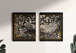 Black Peacock Diptych - set of 2 prints