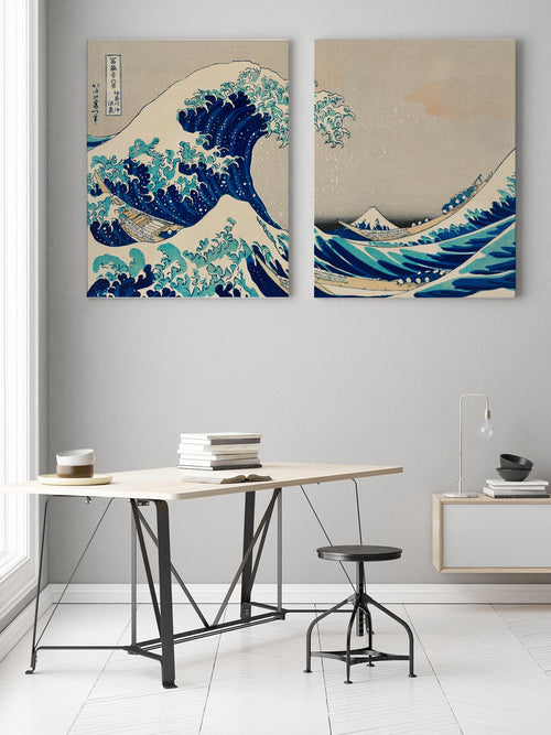 The Great Wave Hokusai Diptych - set of 2 prints