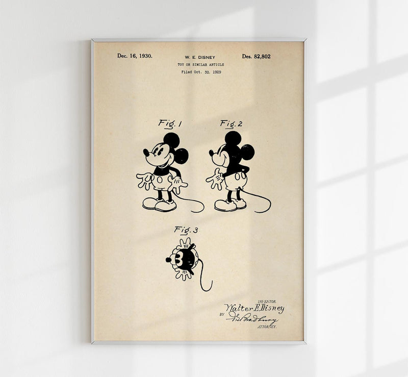 Mickey Mouse Patent Vintage Poster