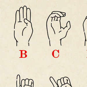 Vintage Sign Language Chart - Lovely Poster idea for any room decor! - Kuriosis Vintage Prints