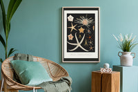Starfish varieties Black Poster - Kuriosis Vintage Prints