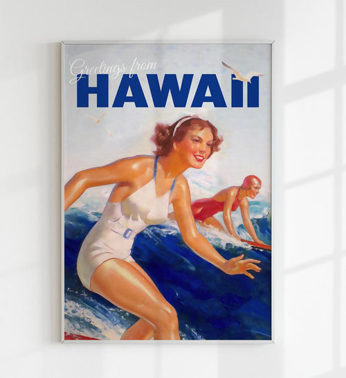 Greetings from Hawaii Travel Art Poster