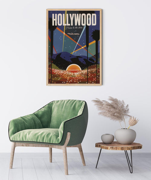 Hollywood California Vintage Travel Poster