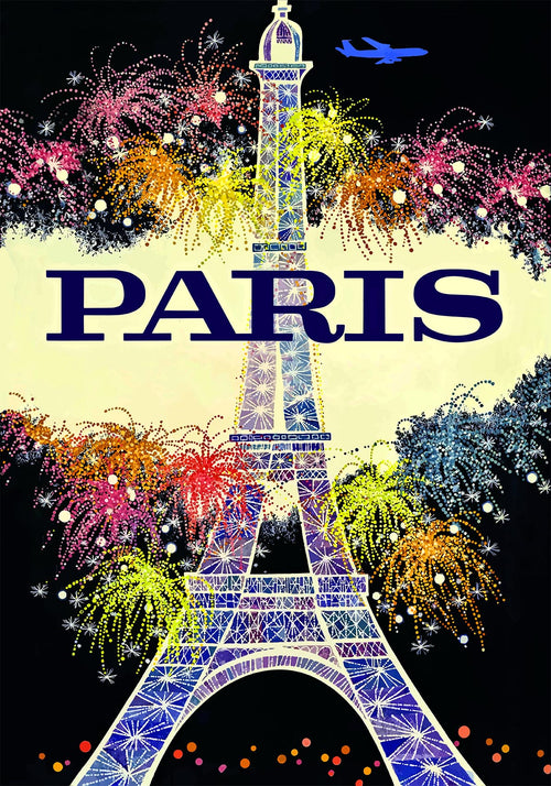 Paris Retro Travel Poster with Eiffel Tower