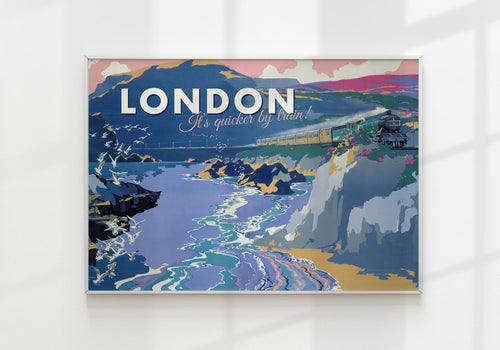 London by Train Travel Poster