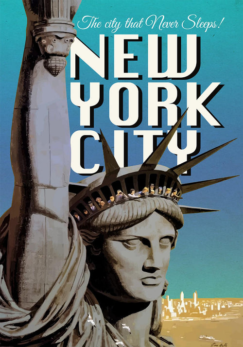 New York with Statue of Liberty Vintage Travel Poster