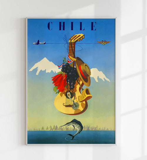 Chile Vintage Travel Poster