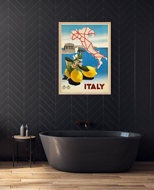 Italy Map Vintage Travel Poster
