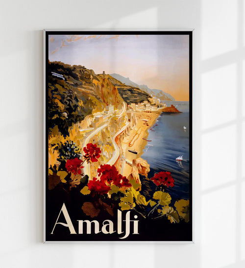 Amalfi Italy Vintage Travel Poster