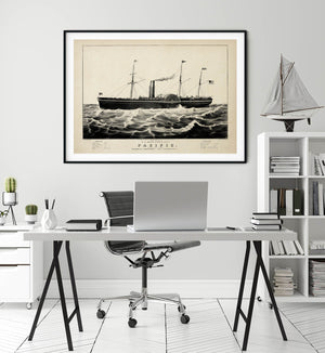 The Pacific Ship Antique Poster