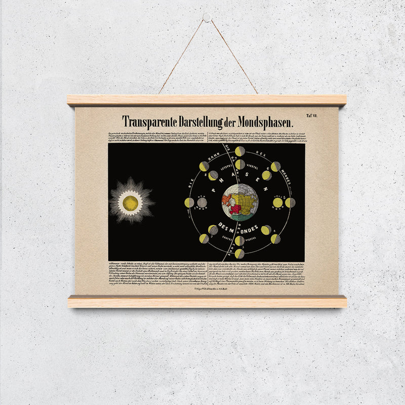 Moon Phases Vintage Astronomical Chart